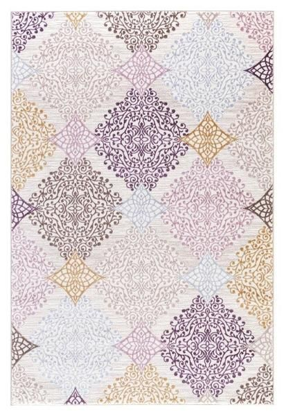Beige Purple Gold Panal Abstract Contemporary Area Rugs