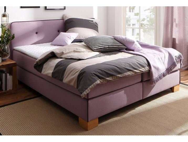 Photo of Home affaire box spring bed »Bristol«, incl. Topper, with piping and button