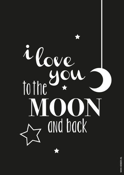 poster zwart-wit i love you to the moon a4 decoratie kinderkamer, Deco ideeën