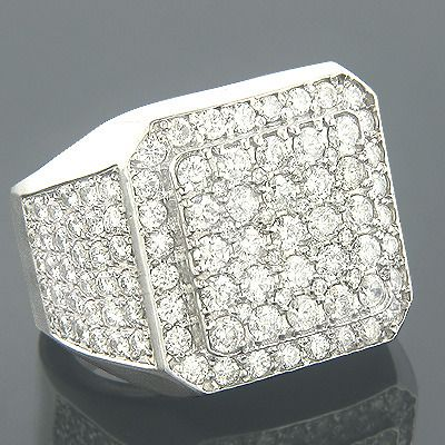 Designer Mens Diamond Ring 6ct 14k Gold Round diamonds Jewelry