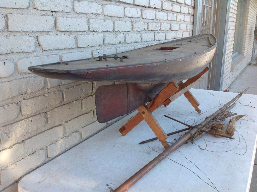 """Rooms: Early 77"""" Long Pond Boat With Masts"""