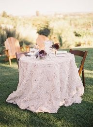 Idea: buy a different tablecloth for our table. Tuscan Villa-inspired, Rustic-Luxe, Vineyard Wedding - Reception,  Rustic,  Cocktail