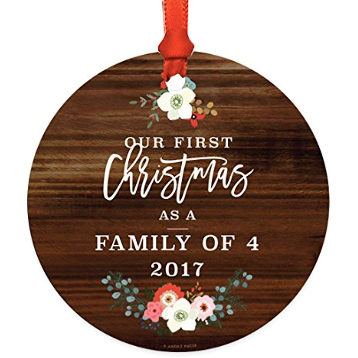 Andaz Press Family Metal Christmas Ornament, Our First Christmas As
