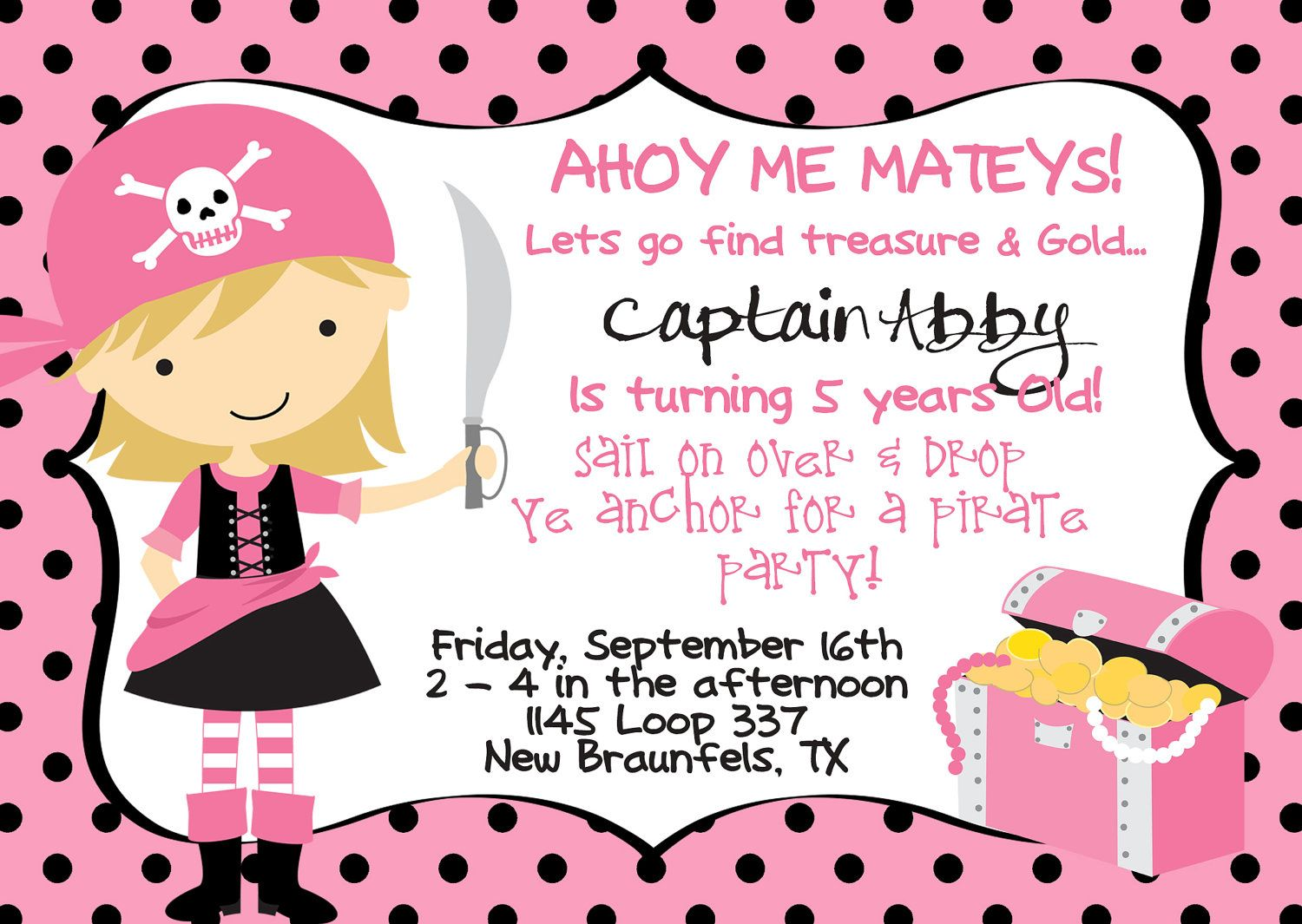 Pirate Girl Mini Party Pack 1 Happy birthday Banner, 12 Invitations ...