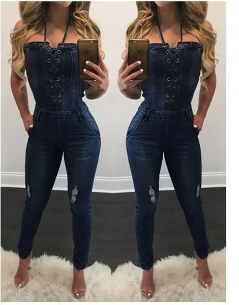 4fe907d8a Womens Trendy Slim Fit Lace Up Jumpsuit in 2019