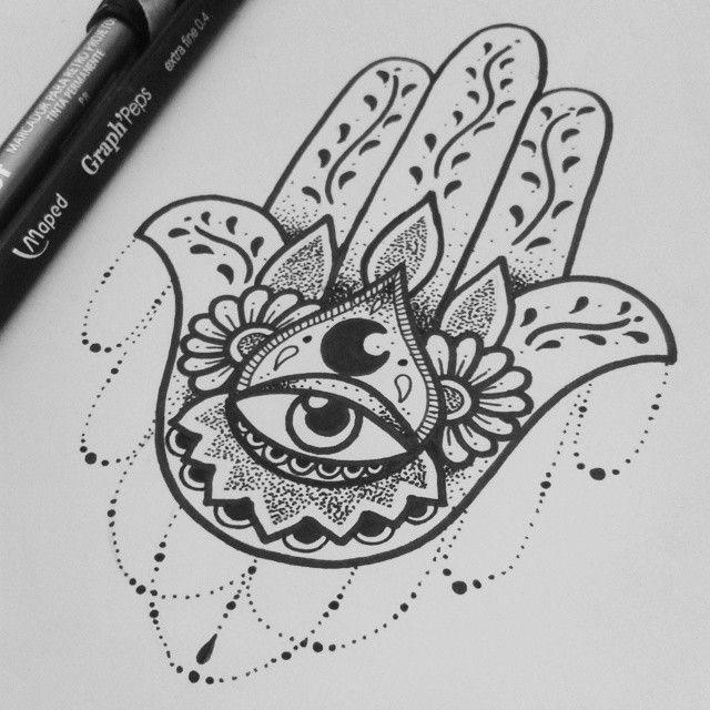 Tatuagem Mão de Fátima um desenho