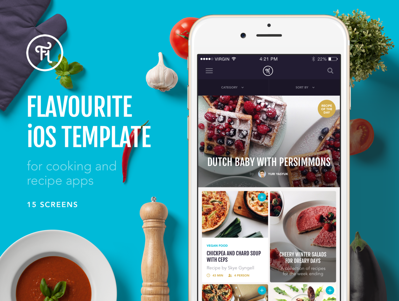 Flavourite ios template social web pinterest cooking app flavourite is an amazing app template for everyone who are crazy about cooking 15 pixel perfect ready to use screens comes in photoshop and sketch formats forumfinder Choice Image