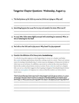 tangerine novel guide comprehension questions writing exercises and novels. Black Bedroom Furniture Sets. Home Design Ideas