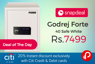 Snapdeal #DealofTheDay is offering 38% off on Godrej Forte 40 Safe White at Just Rs.7499. With Its Tall Design, Forte 40 Is Specially Developed To Offer Secure Storage And Easy Access To important Files, Documents, Besides Other Valuables. forte's Multibend Design Along With Motorised Shooting Bolts Provides The User Enhanced Protection. It Is Packed With Hi-tech Features Such As Led Touch Panel,   http://www.paisebachaoindia.com/godrej-forte-40-safe-white-at-just-rs-7499-snapdeal/