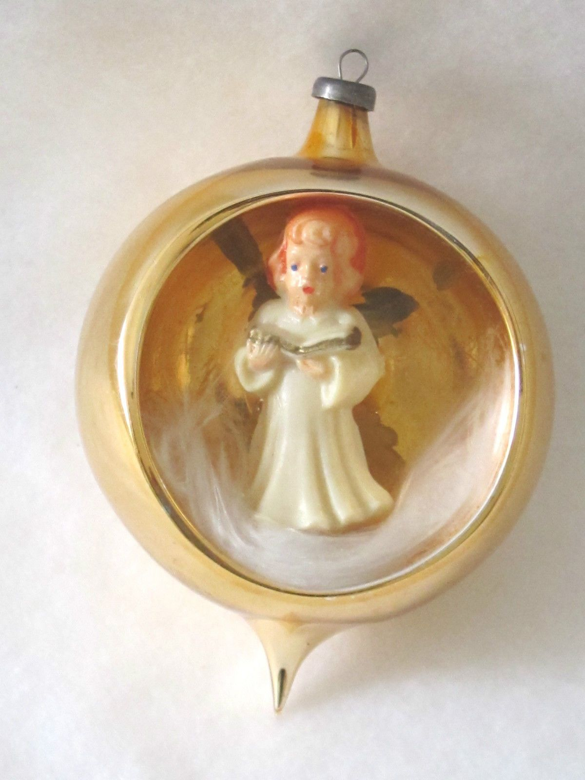 Vintage Glass Angel Diorama W Angel Hair Christmas Ornament Italy 1950s 60s