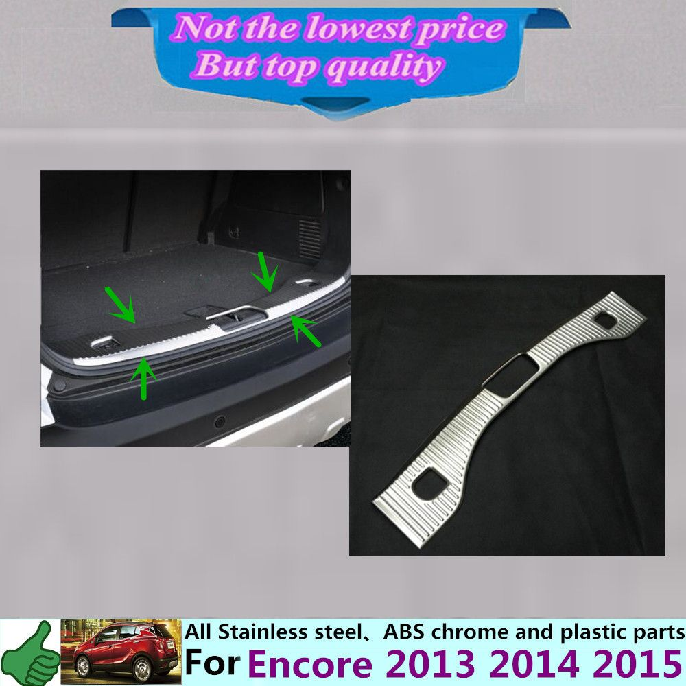 For Buick Encore 2013 2014 2015 Car Cover Stainless Steel Inner Built Rear Bumper Trim Plate Lamp Frame Threshold Buick Encore Interior Accessories Car Covers