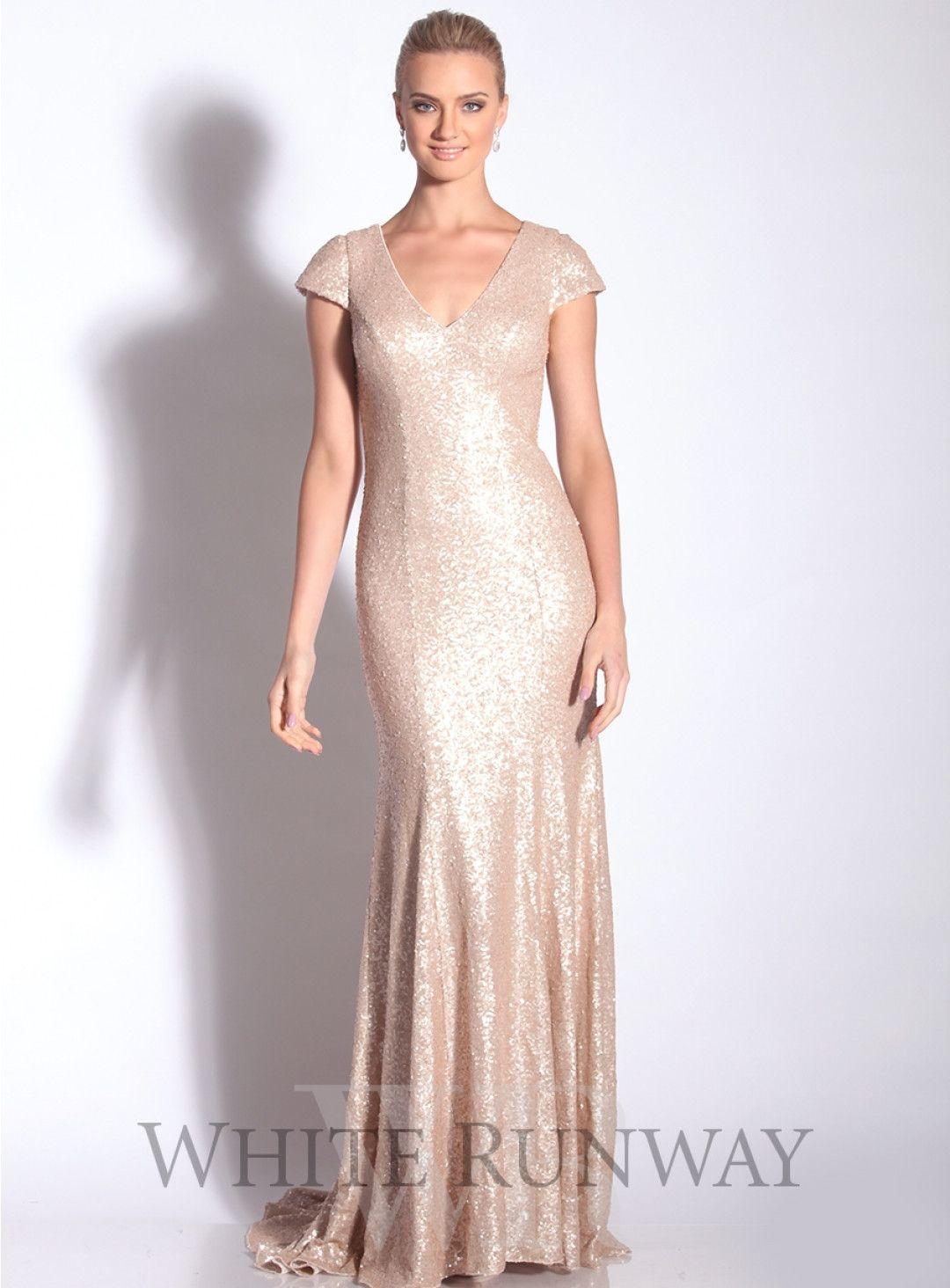 Sequinned vneck dress with tr stunning full length sequinned dress