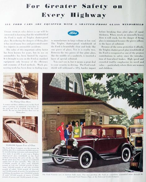 Ray Catena Cadillac: 1931 Ford Victoria Ad ~ Shatter-Proof Glass, Vintage Ford Ads