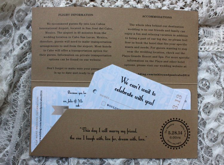 This boarding pass design is perfectly suited for destination - airplane ticket invitations