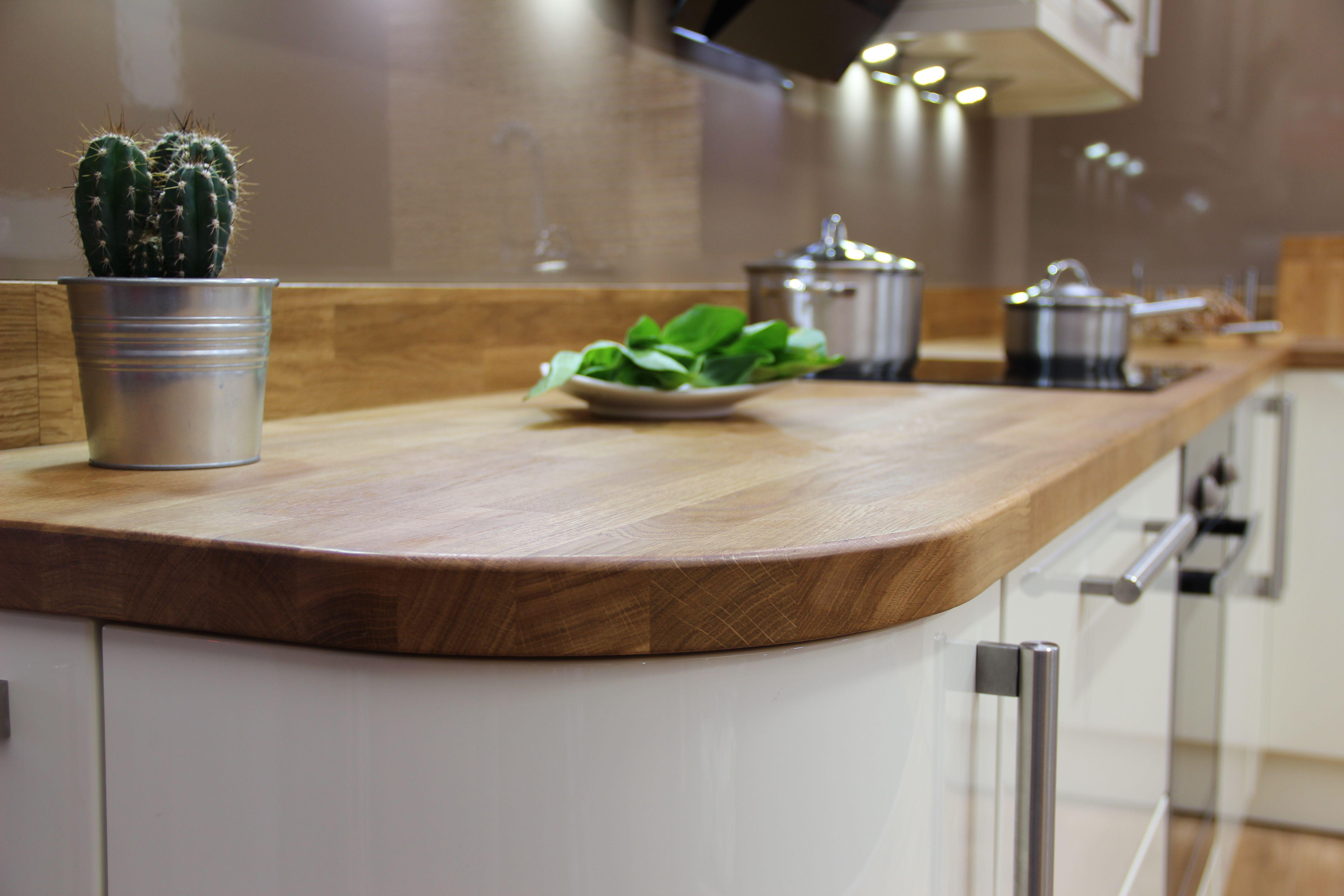 Solid Oak worktop curved end detail. Solid wood worktops