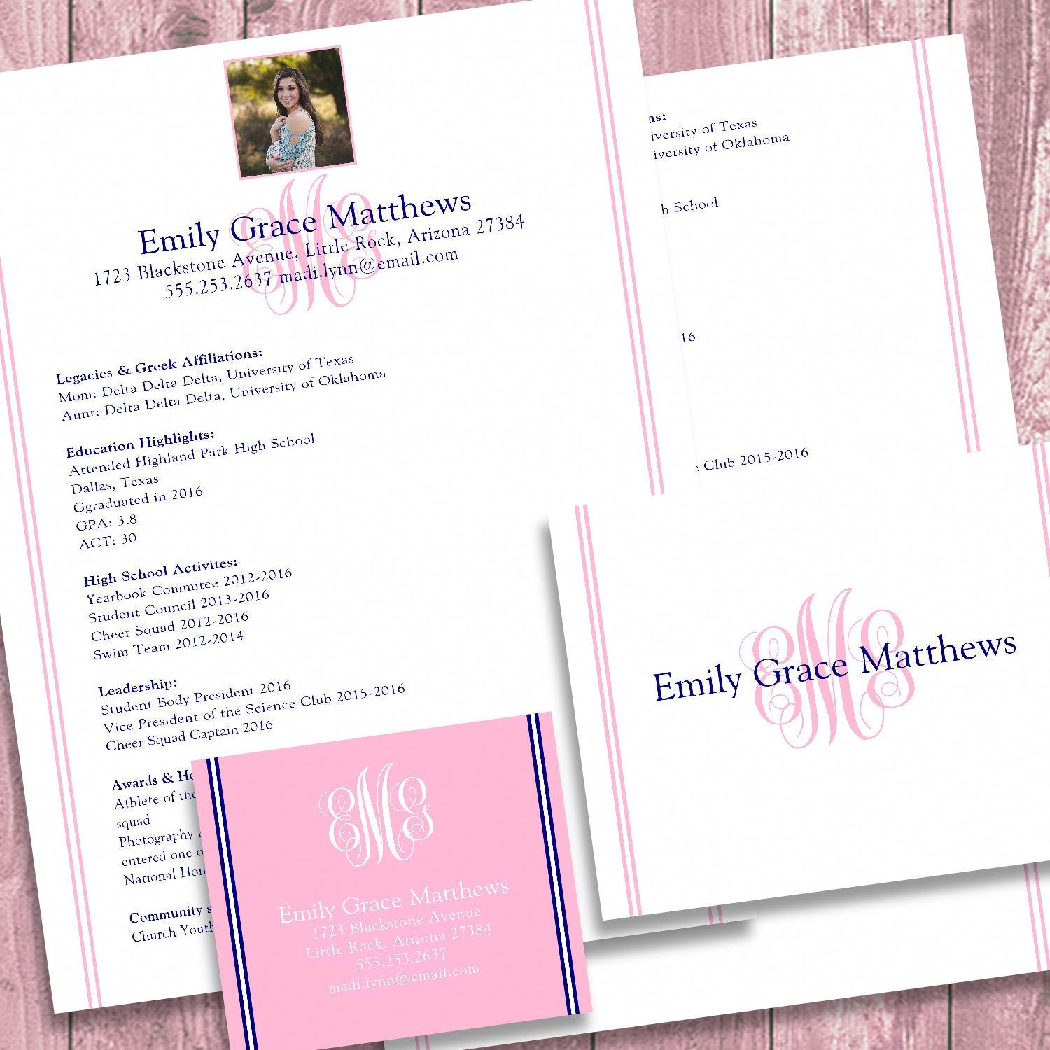 Digital printable sorority recruitment packet with photo