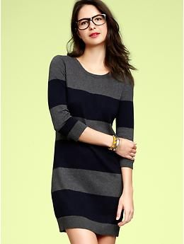 gap's striped knit tunic in navy & charcoal gray