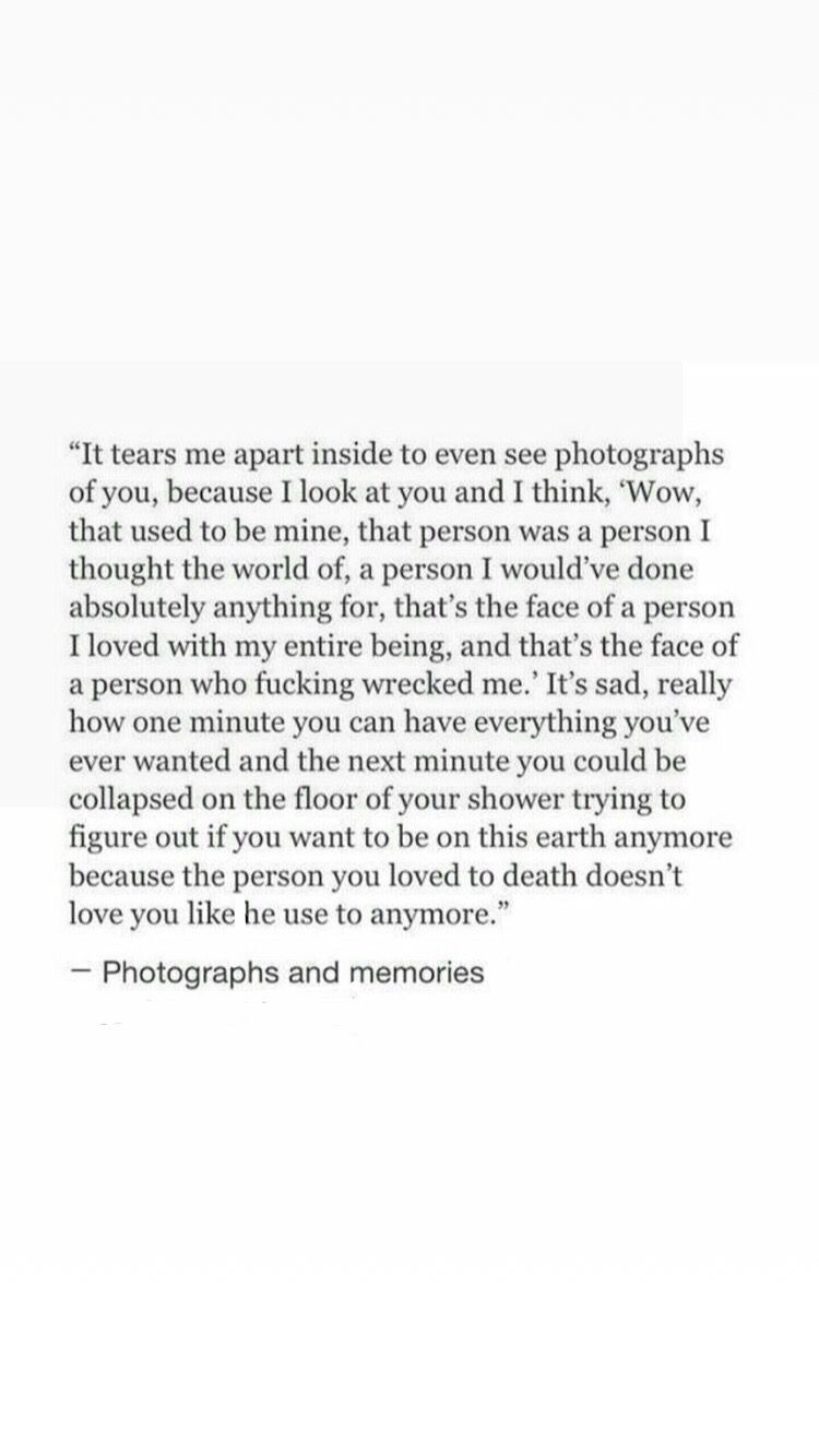 I'm just speechless because that's the thing that goes through my mind every single day I saw his pics....