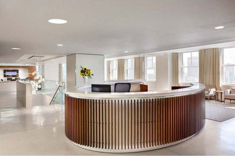 Furniture, Round Reception Desk Dimensions For Luxury Office ...