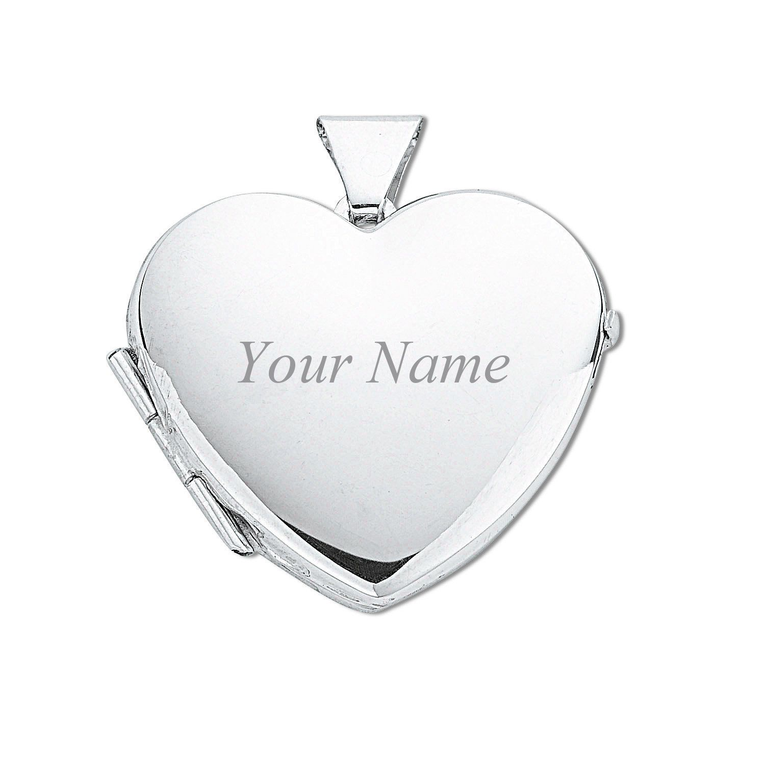 Sterling Silver I Love You Engraved 2 Photo Flower Heart Shaped Locket 15x15mm YTkxC
