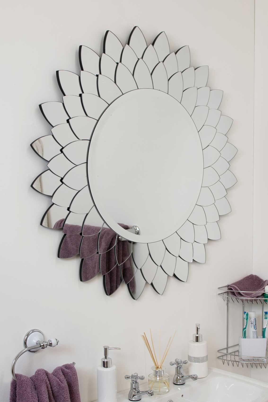Sunflower Round Glass Mirror 90cm Soraya Interiors Uk Round Mirror Decor Mirror Wall Mirror Wall Decor