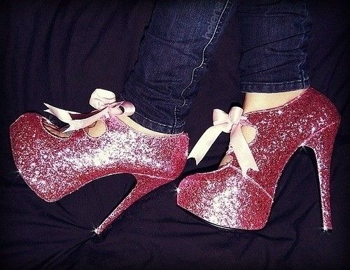 Pink Sparkly Heels With Bow
