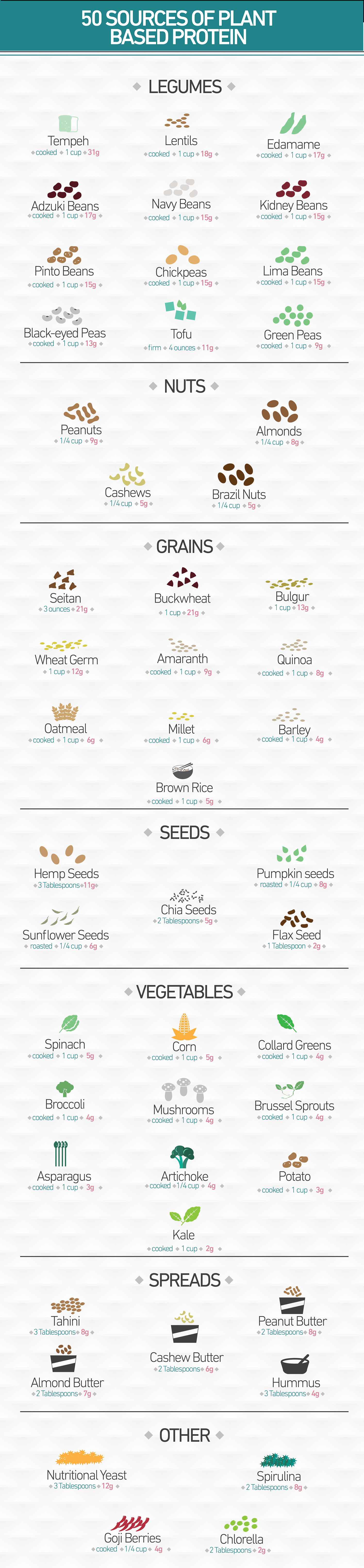 50 Sources of Plant Based Protein: You don't need to eat meat to get enough protein! :)