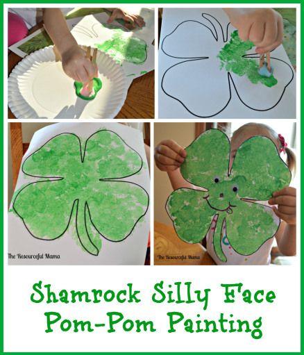 Shamrock Silly Face Pom-Pom Painting