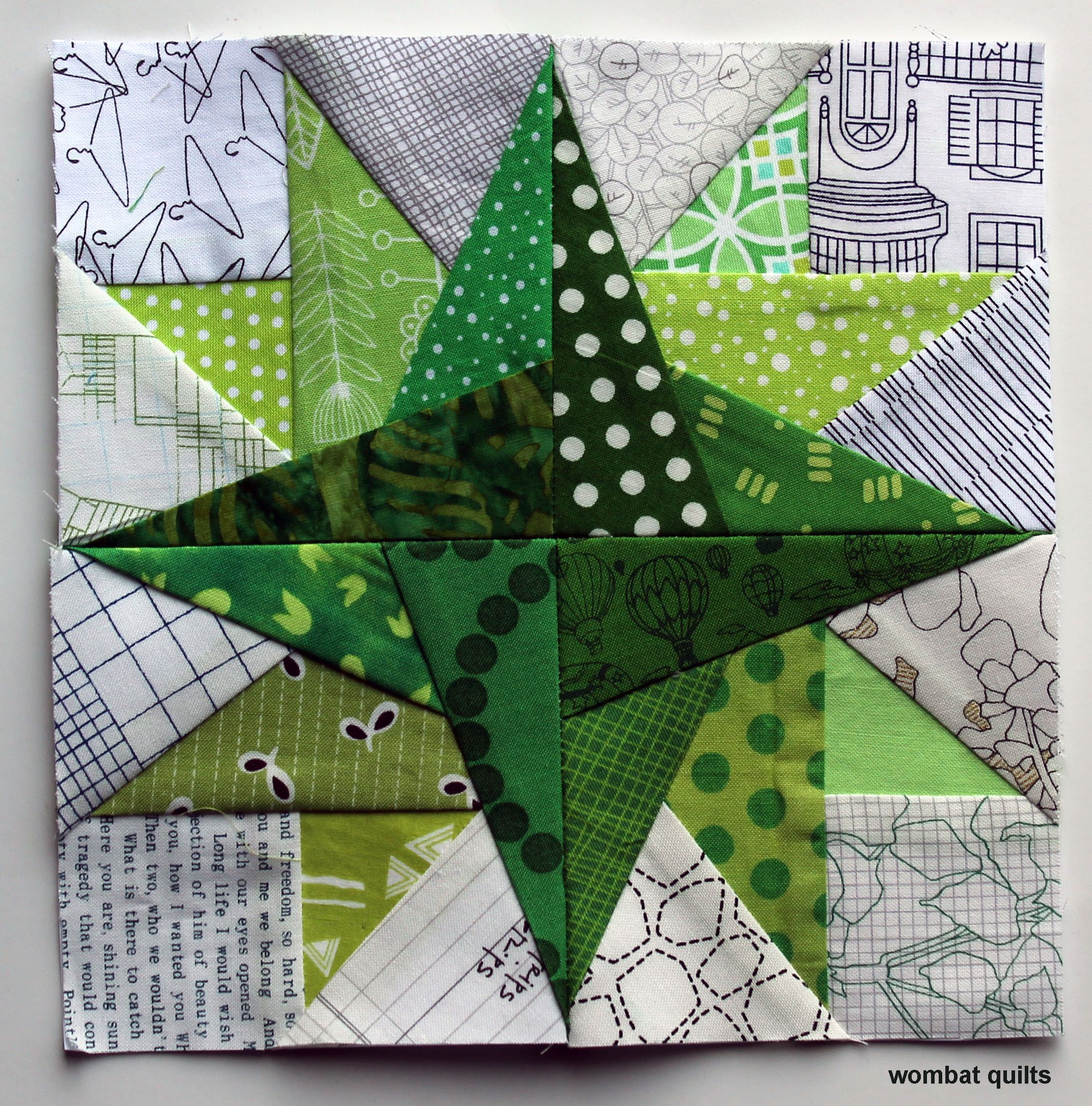 Star Petal Free Paper Piecing Block From Wombat Quilts