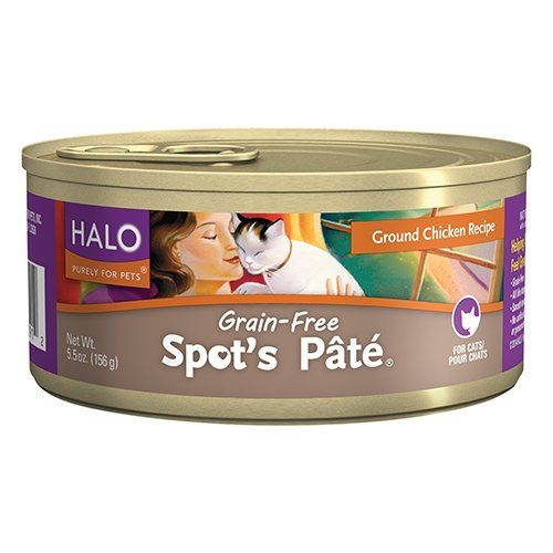 halo spots pate holistic grain free wet cat food ground chicken 55