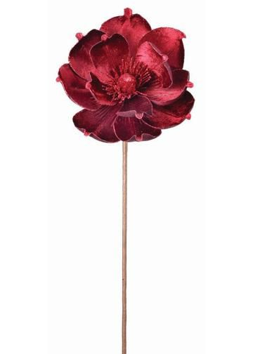 Deluxe Velvet Magnolia Stem In Burgundy 24 Tall Artificial Flowers Artificial Flowers And Plants Christmas Flowers