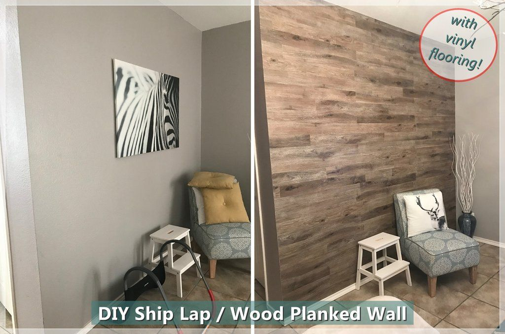The Easiest Way To Diy Wood Plank Ship Lap Accent Wall With Vinyl