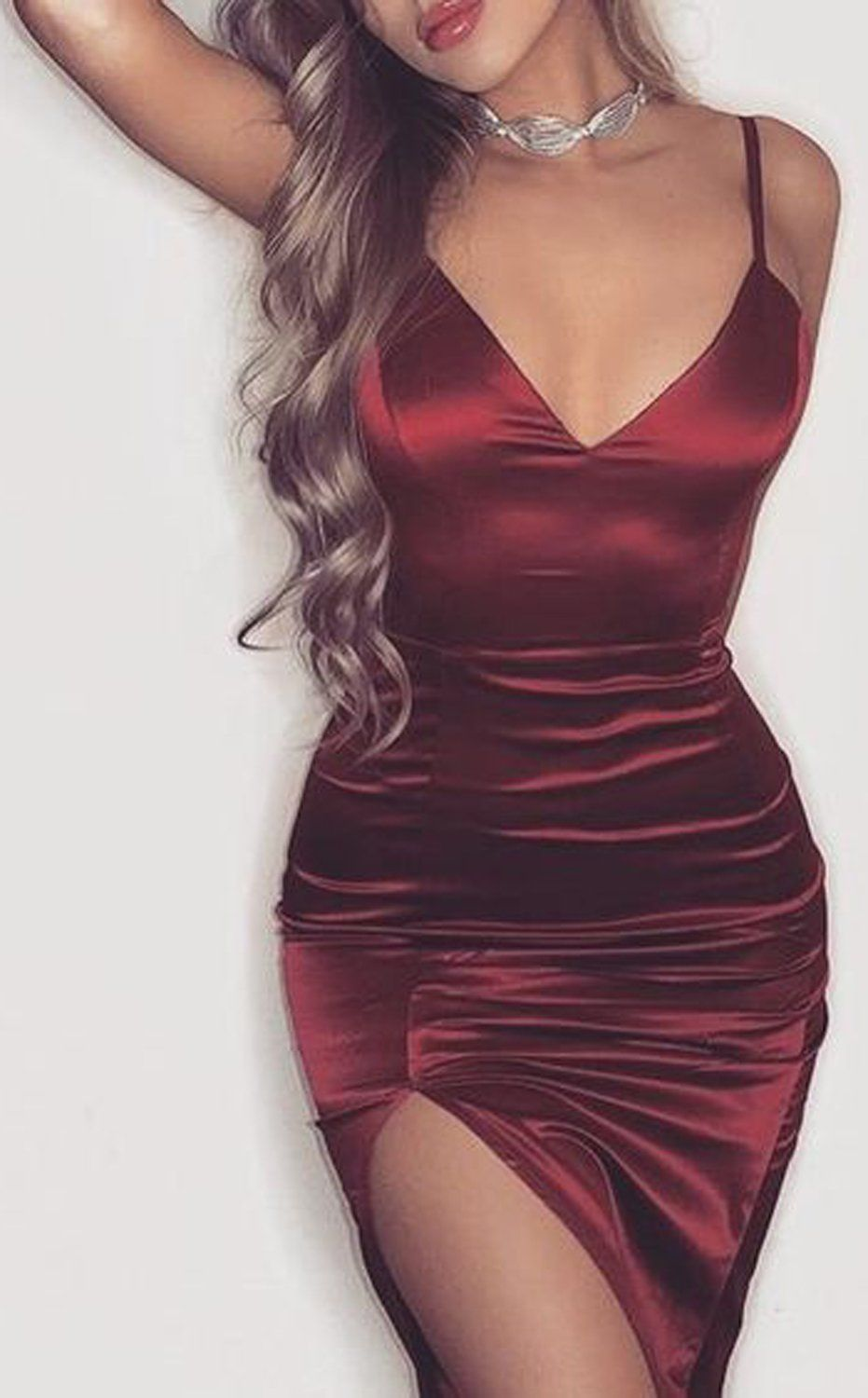 Clubbing Evening Cocktail Party Dressy Romantic Outfit Ideas for Women -  Burgundy Red Satin Mini Dress- día de san valentín Outfit Ideas para  mujeres - www. 8f14d80e5