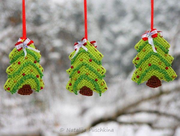 Weihnachtsbaum Girlande.Tannenbaum Häkeln Anhänger Oder Girlande Häkelanleitung 2 In 1