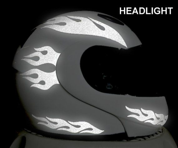 Flames Reflective Decal Set Reflective Flames Helmet Stickers - Vinyl stickers for motorcycle helmetsdragon hyper reflective decal motorcycle helmet safety sticker