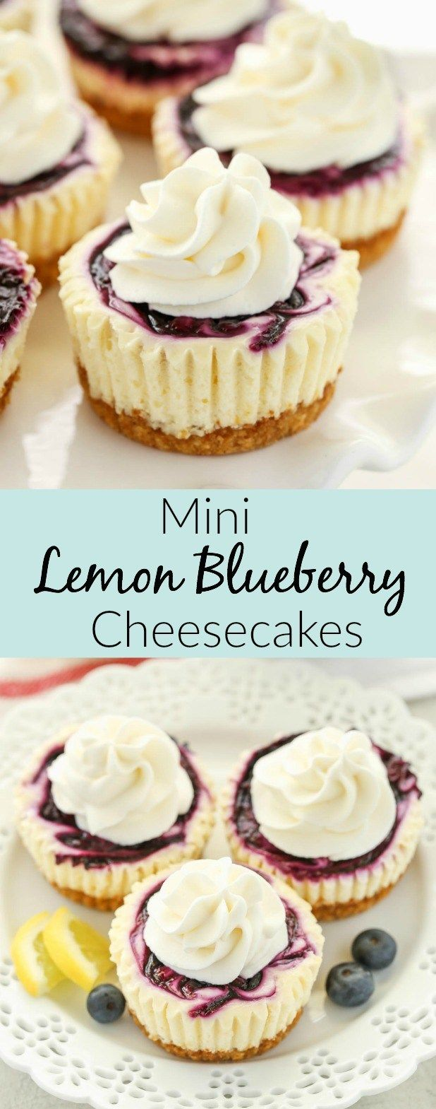 These Mini Lemon Blueberry Cheesecakes feature an easy homemade graham cracker crust, smooth and creamy lemon cheesecake filling, and a simple blueberry swirl! #cheesecake
