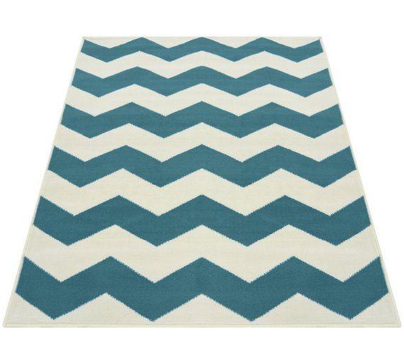 buy chevron rug 160x230cm teal at argoscouk your online