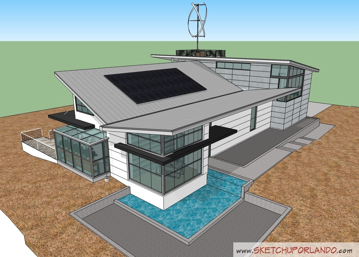 Modern house sketchup view for Modern house design sketchup