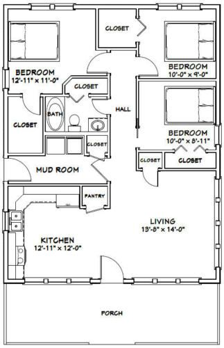 28x36 House 3 Bedroom 1 Bath 1 008 Sq Ft Pdf Floor Plan Model 1k Small House Floor Plans House Floor Plans Bedroom House Plans