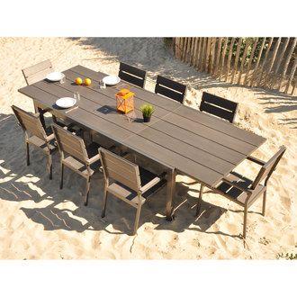 Salon de jardin en Aluminium et Composite : Table 220/300cm et 8 ...
