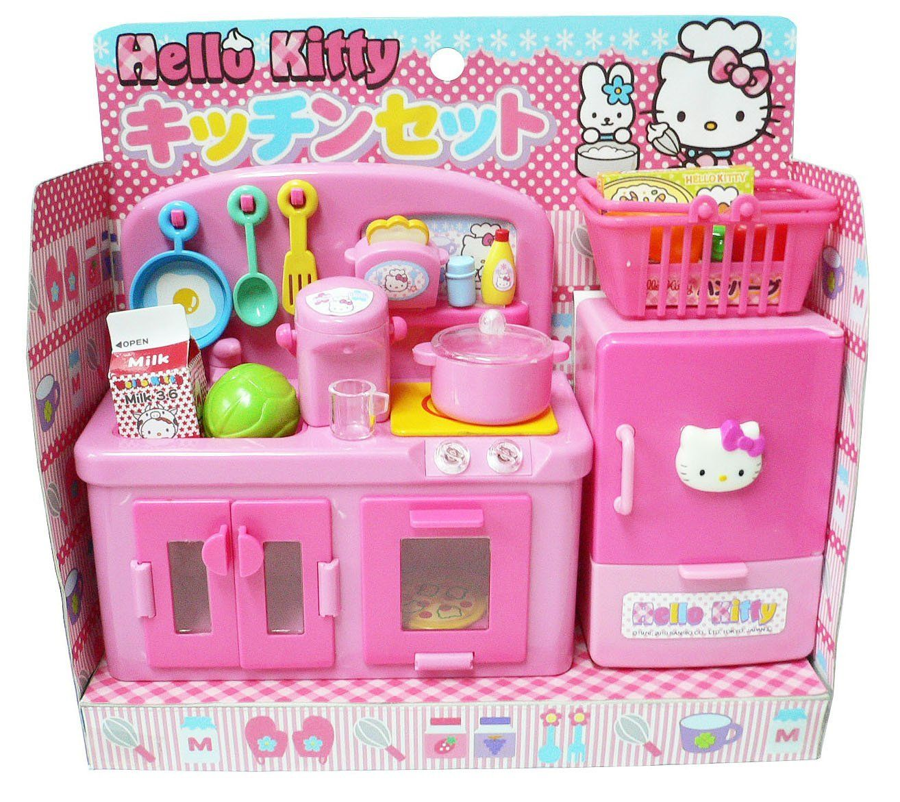 Amazon.com: Hello Kitty Kitchen Play Set Miniature Toy Preschool Girl Role Play: Toys & Games #miniaturetoys