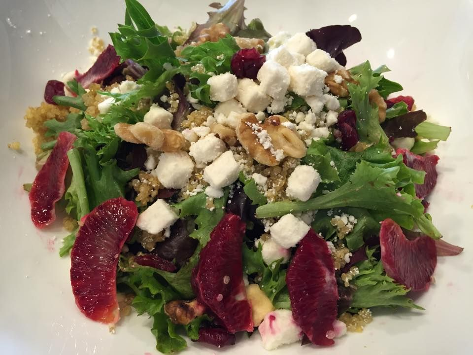 Keep the Blood Oranges coming! A mixed greens salad with sliced blood oranges, quinoa, walnuts, cranberries & feta cheese with our homemade lemon mustard vinaigrette. Super healthy and extra delicious!