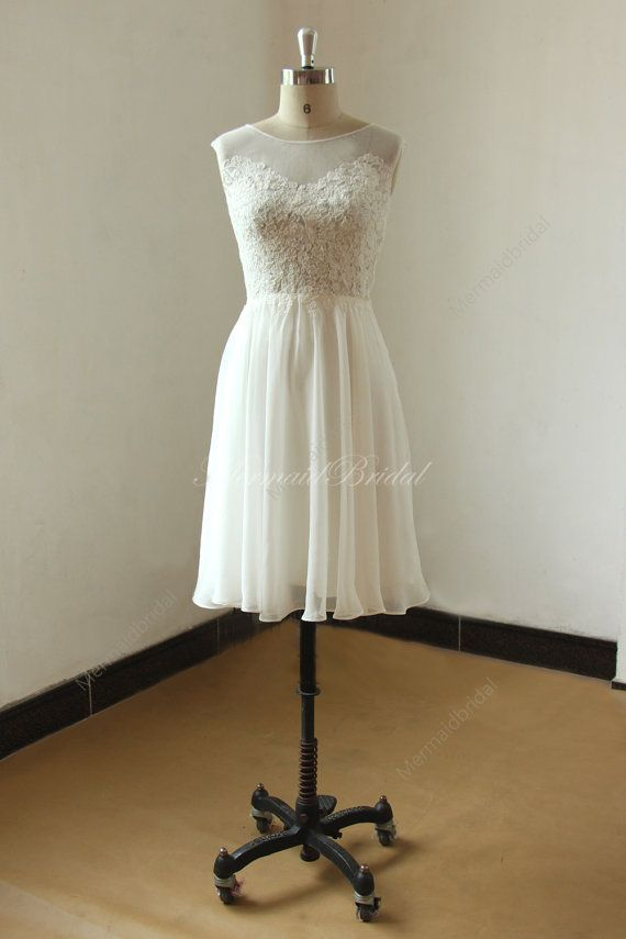 Ivory short/ knee length lace chiffon see through wedding dress with illusion neclikine