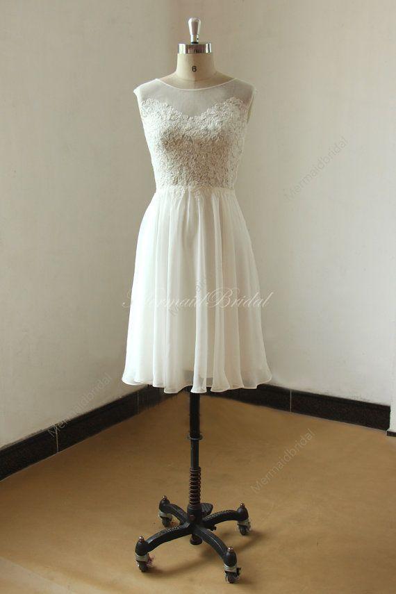 Elfenbein kurz / Knie Länge Spitze chiffon sehen durch Hochzeitskleid mit Illusion neclikine #lacechiffon