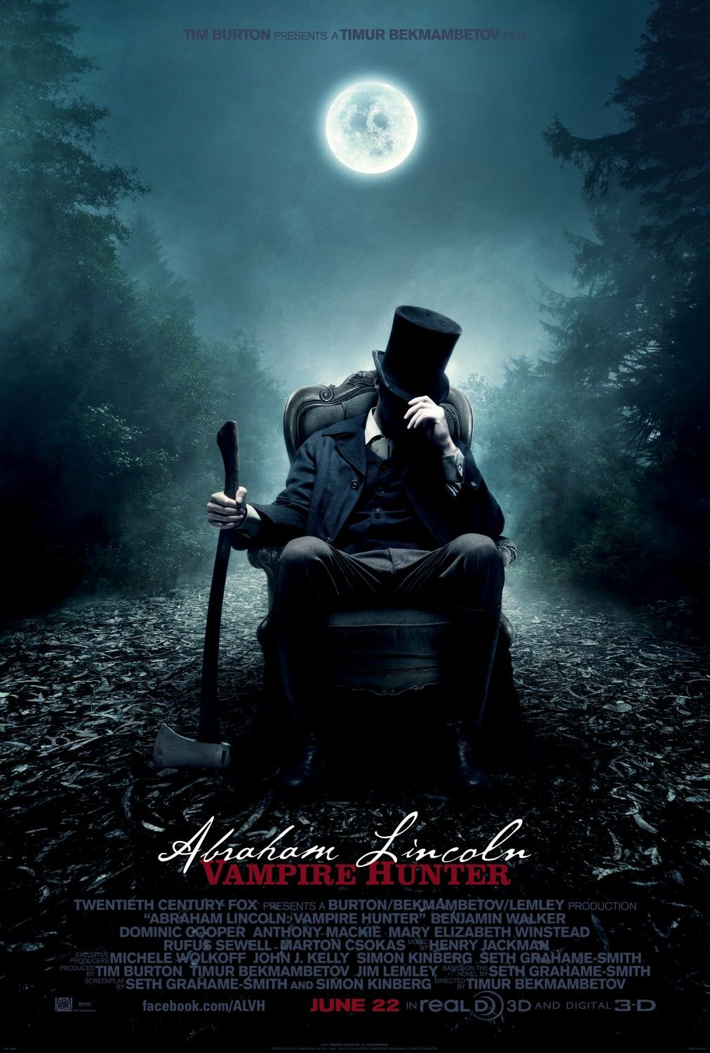 """Abe Lincoln, Vampire Hunter: """"President Lincoln's mother is killed by a supernatural creature, which fuels his passion to crush vampires and their slave-owning helpers.""""  If that doesn't get you interested then maybe the fact that its directed by Russian genius, Timur Bekmambetov and produced by gothic king Tim Burton, should get you going!"""