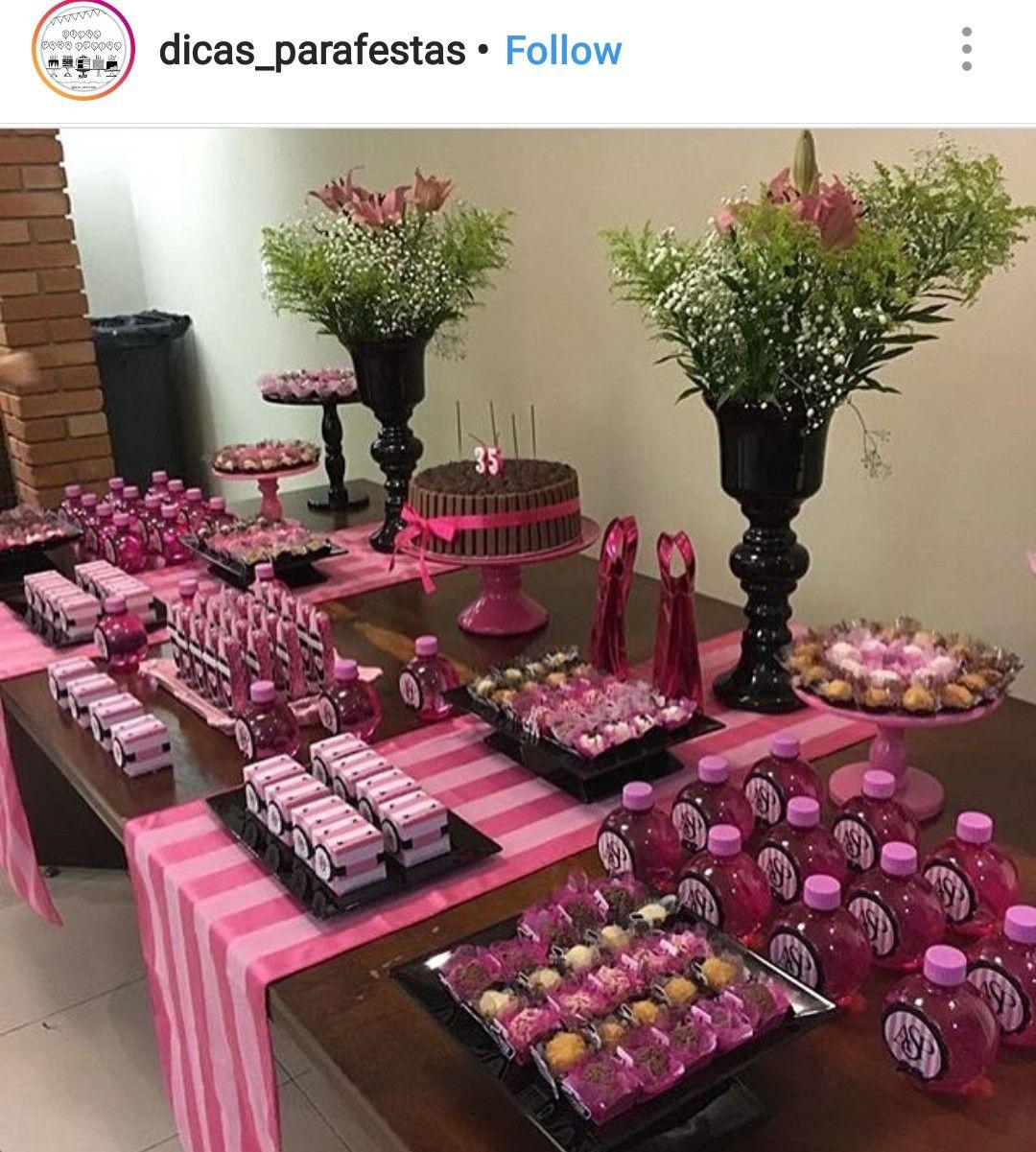 Victoria Secert Theme Dessert Table And Decor Pink Birthday Party Pink Party Theme Victoria Secret Party