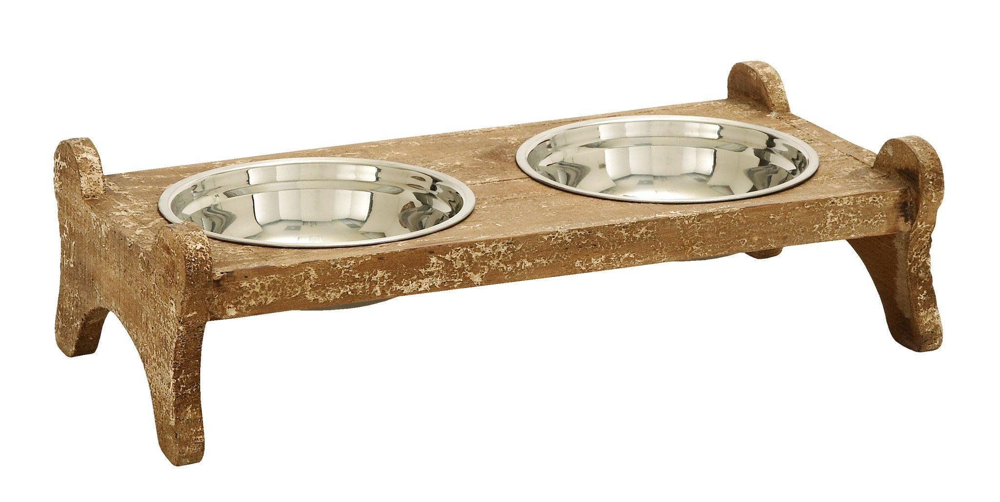 Handcrafted Pet Feeder Food Bowl Shaped Like A Bone