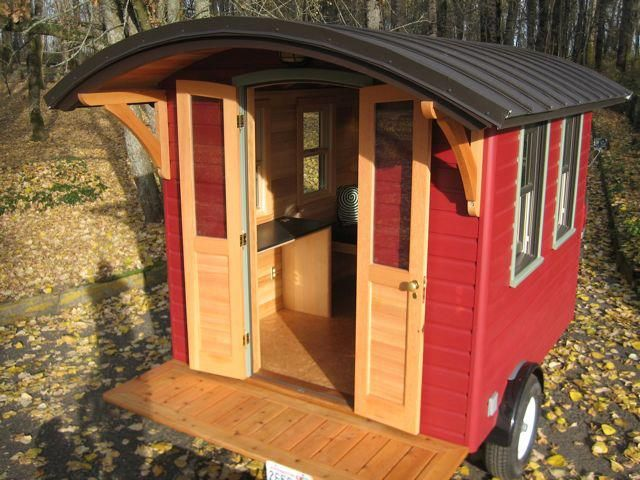 Portland ~ The Don Vardo, built by Portland Alternative Dwellings. PAD is selling The Don Vardo for $22,000, which includes a desk, kitchen nook, pull-out double bed, and radiant heat floors. Built on a 7×10-foot trailer, the portable home is fully insulated, road tested, and comes with reclaimed Douglas fir doors, rain screen cedar siding, a PaperStone desk, an LED rope-light, salvaged cabinets and a sink, and efficient double-hung windows. There is no toilet or shower, though.