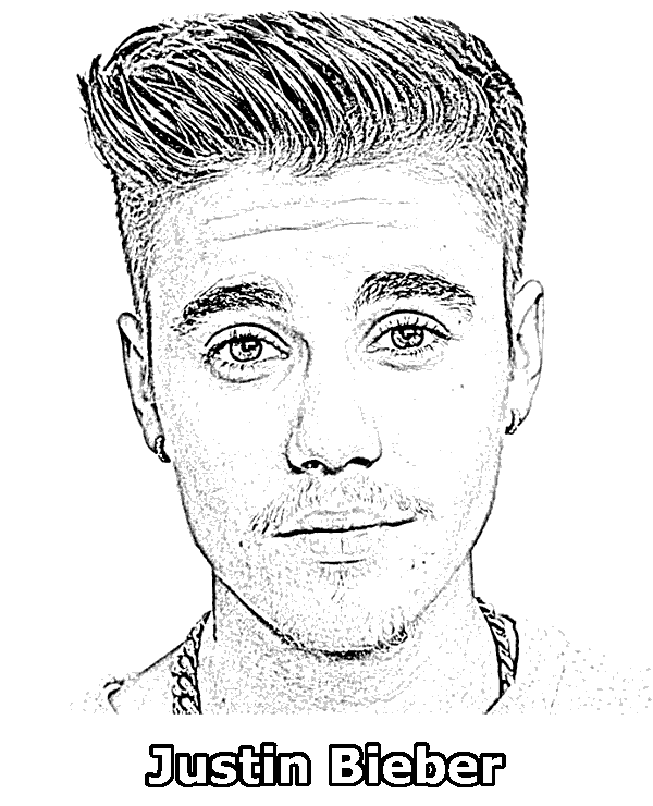 Justin Bieber coloring page with top singers and ...