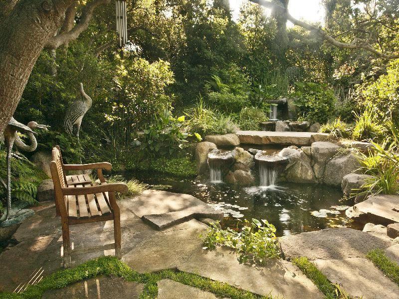 Plan d 39 eau et cascade jardin garden pinterest for Plan amenagement jardin exterieur
